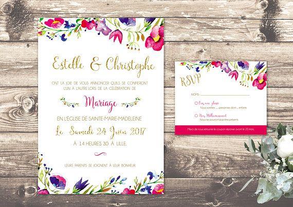 Faire part mariage bohème fleurs,invitation mariage boheme, faire part mariage, invitation, papeterie personnalisée, avec enveloppe