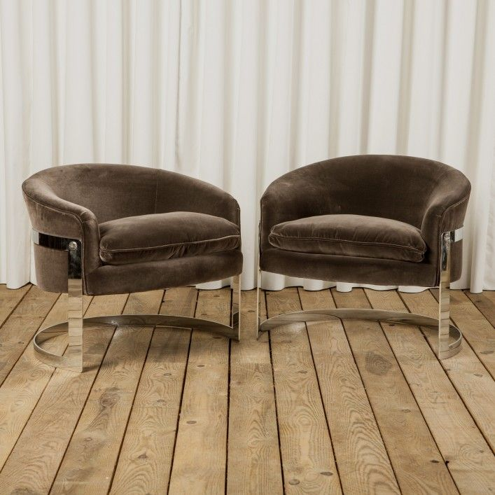 Delightful Astor Place | Pair Of Curved Tub Chairs By Milo Baughman