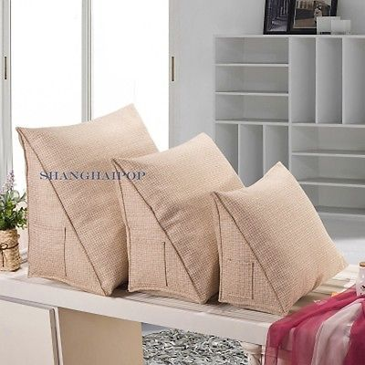 1 X Linen Wedge Triangle Cushion Pillow Bed Sofa Chair Back Rest Support Comfy Pillows Bed Pillows Diy Daybed
