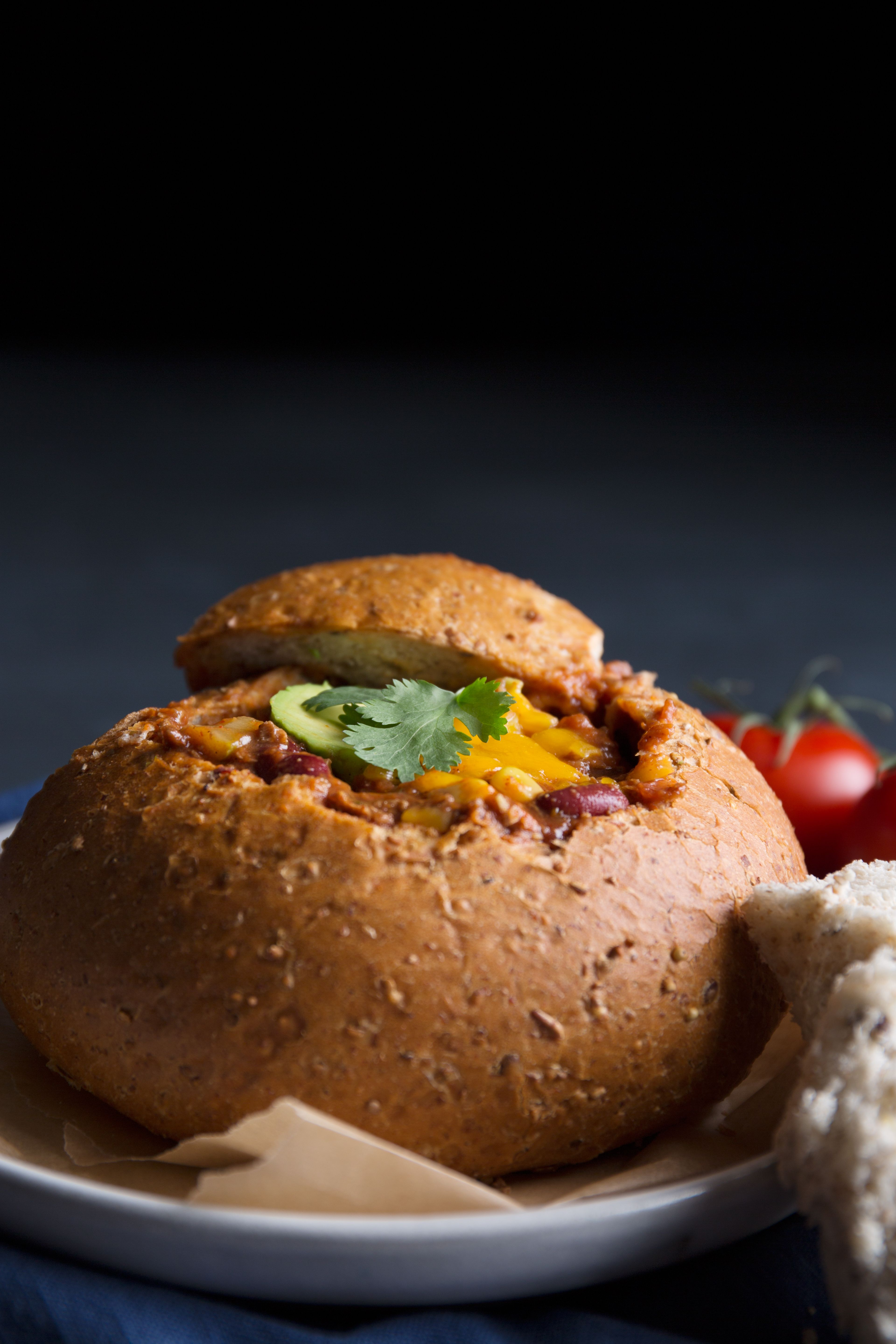 Slurp soup out of a crusty bread bowl, which doubles as a serving dish and a tasty snack. Make your own out of an oversized roll, or search Groupon for restaurants in your neighborhood that are dishing out hearty winter fare
