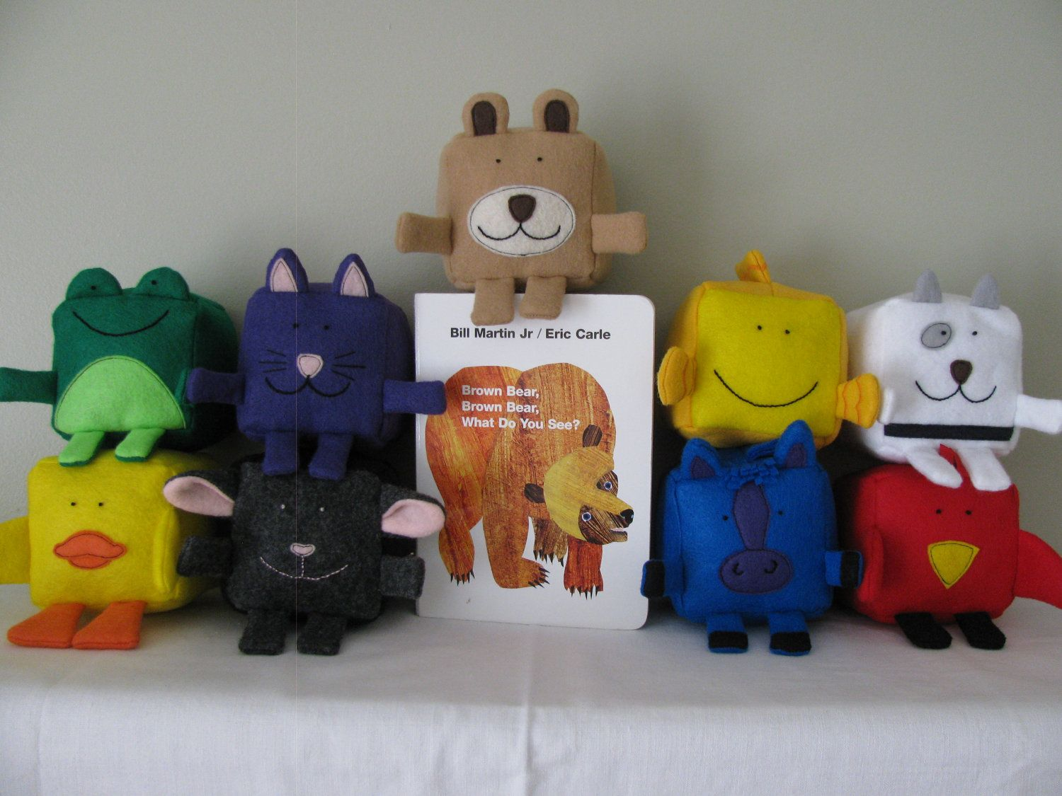 Eric carle inspired brown bear brown bear collection felt sew toys eric carle inspired brown bear brown bear collection felt cubesblocks plushie jeuxipadfo Images