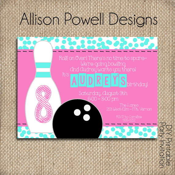 Bowling Pink Turquoise  Custom Printable Diy Invitation By