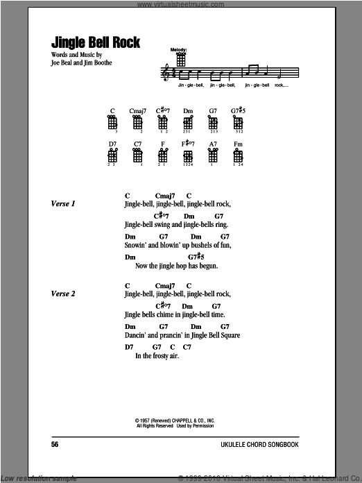 Helms Jingle Bell Rock Sheet Music For Ukulele Chords Pdf Lyrics And Chords Ukulele Chords Guitar Lessons Songs