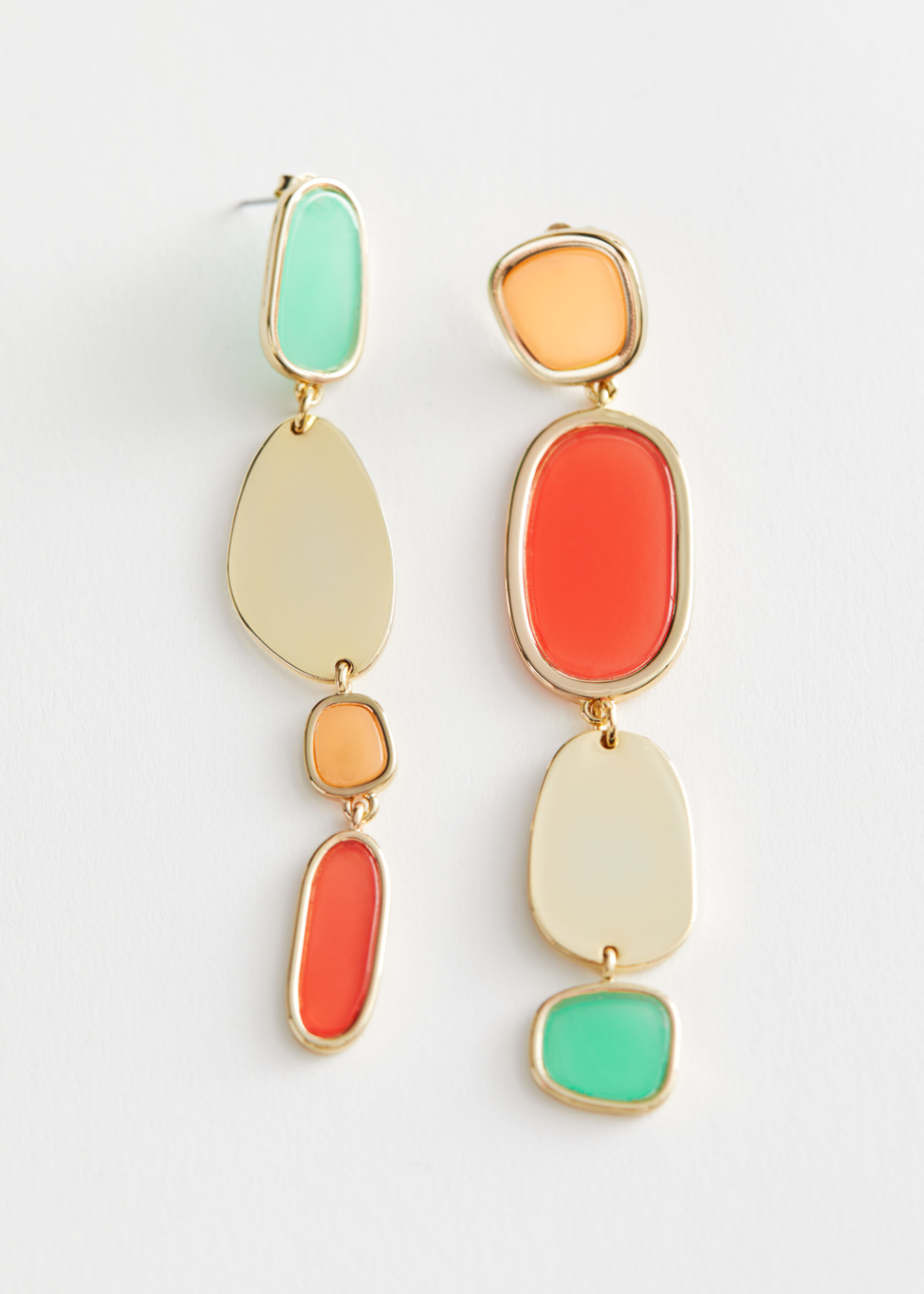 Colour Block Mismatch Hanging Earrings