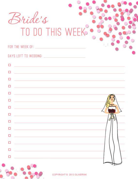 Bride To Do Printable Checklist PDF Blonde Bride by Oliverink on - wedding checklist pdf