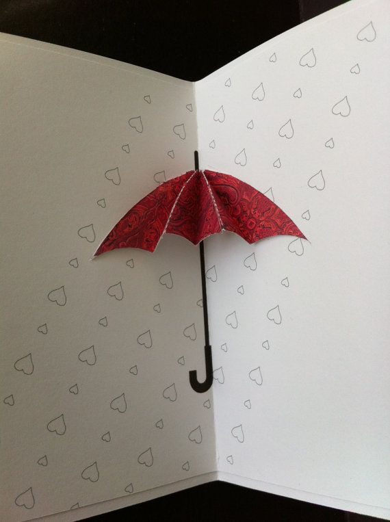 Umbrella Pop Up Card For Any Occasion Made Of 100 Recycled Etsy Umbrella Cards Pop Up Greeting Cards Cards