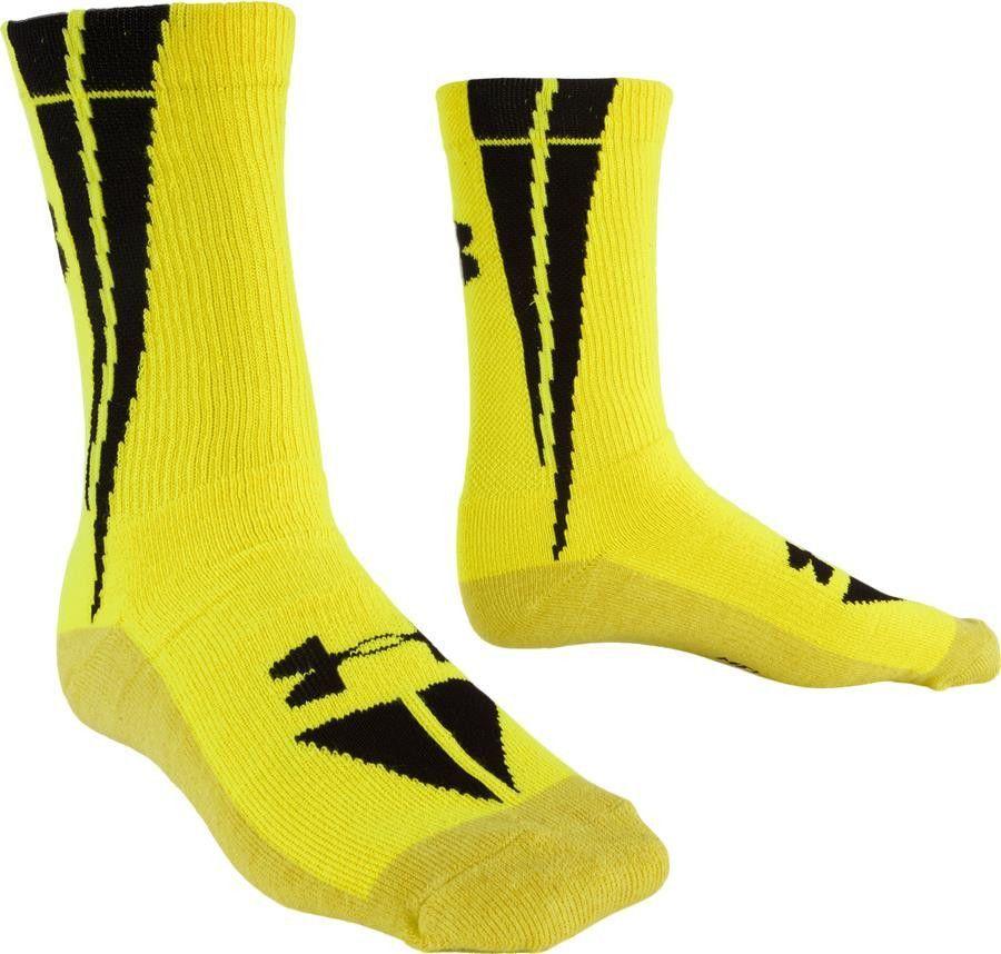 SOCCO Socks Large//X-Large Crew Stripe White//Gold//Purple Single Pair