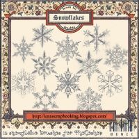 """Snowflakes brushes (Photoshop Brushes """"Snowflakes"""" for designing digital collages, photobooks & photoalbums. 12 Photoshop Brushes) at D & H Scrap"""