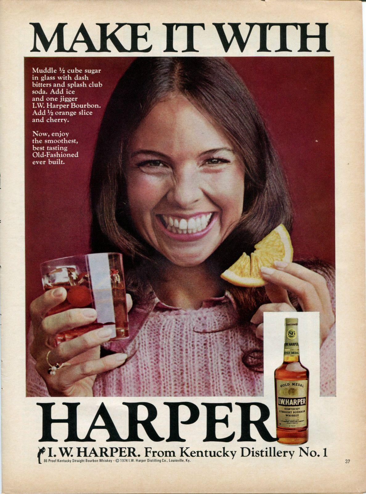 1974 Iw Harper Kentucky Bourbon Whiskey Woman Smiling Retro Vintage Original Ad 9 99