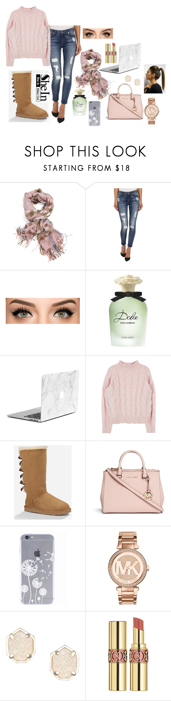 """""""editing day"""" by melody02craig on Polyvore featuring 7 For All Mankind, Dolce&Gabbana, UGG Australia, Michael Kors, Kendra Scott and Yves Saint Laurent"""