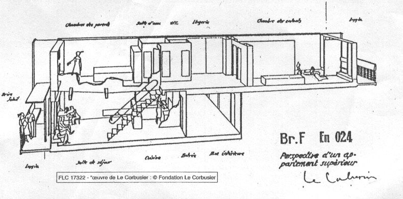 plan appartement le corbusier cité radieuse