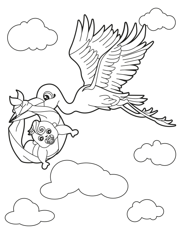 Free Printable Stork With Baby Coloring Page Download It At Https Museprintables Com Download Coloring Pa Baby Coloring Pages Coloring Pages Free Baby Stuff