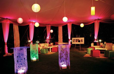 This Client Wanted A Lounge For After Hours Partying, So Infinite Designs  Used Creative Lighting And Bill Whidden Tables Uplit With LED Cub.