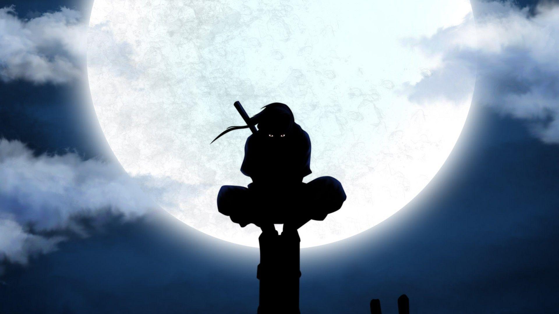 Silhouette Naruto Shippuuden Power Lines Anbu Anime Utility Pole Uchiha Itachi Moon Wa Ninja Wallpaper Naruto Wallpaper Anime Scenery Wallpaper