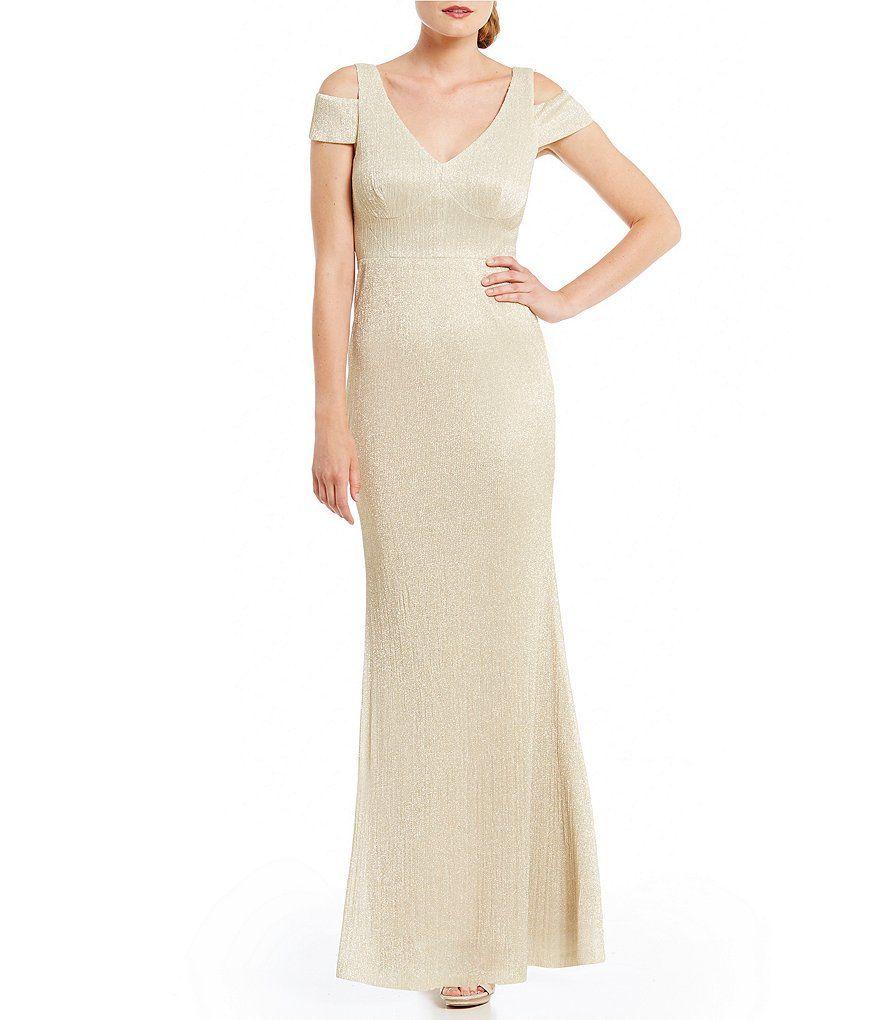 Calvin Klein Cold Shoulder Shimmer Knit Gown Bridesmaid Dresses