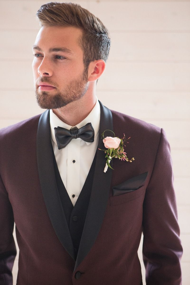 Burgundy Tuxedo With A Black Leather Faux Tie Is The Perfectly Cool Groom S Look Photography Christine Ben Burgundy Tuxedo Tuxedo Wedding Groom And Groomsmen