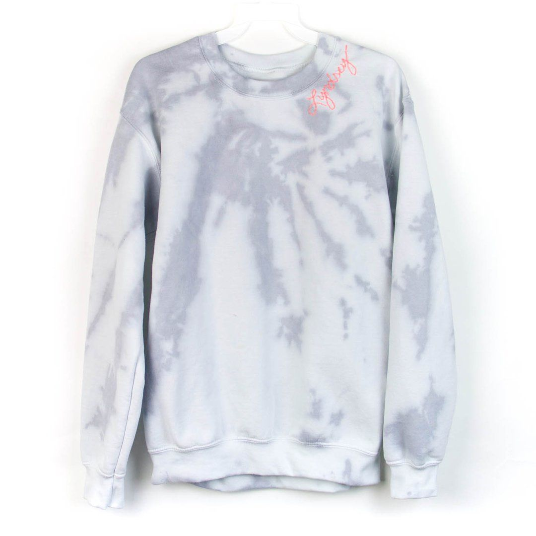 Cozy Up In This Embroidered Tie Dye Sweatshirt In A Grey And White Combo So Your Custom Stitching Can Tak Sweatshirts Tie Dye Sweatshirt Gray Sweatshirt Outfit [ 1080 x 1080 Pixel ]
