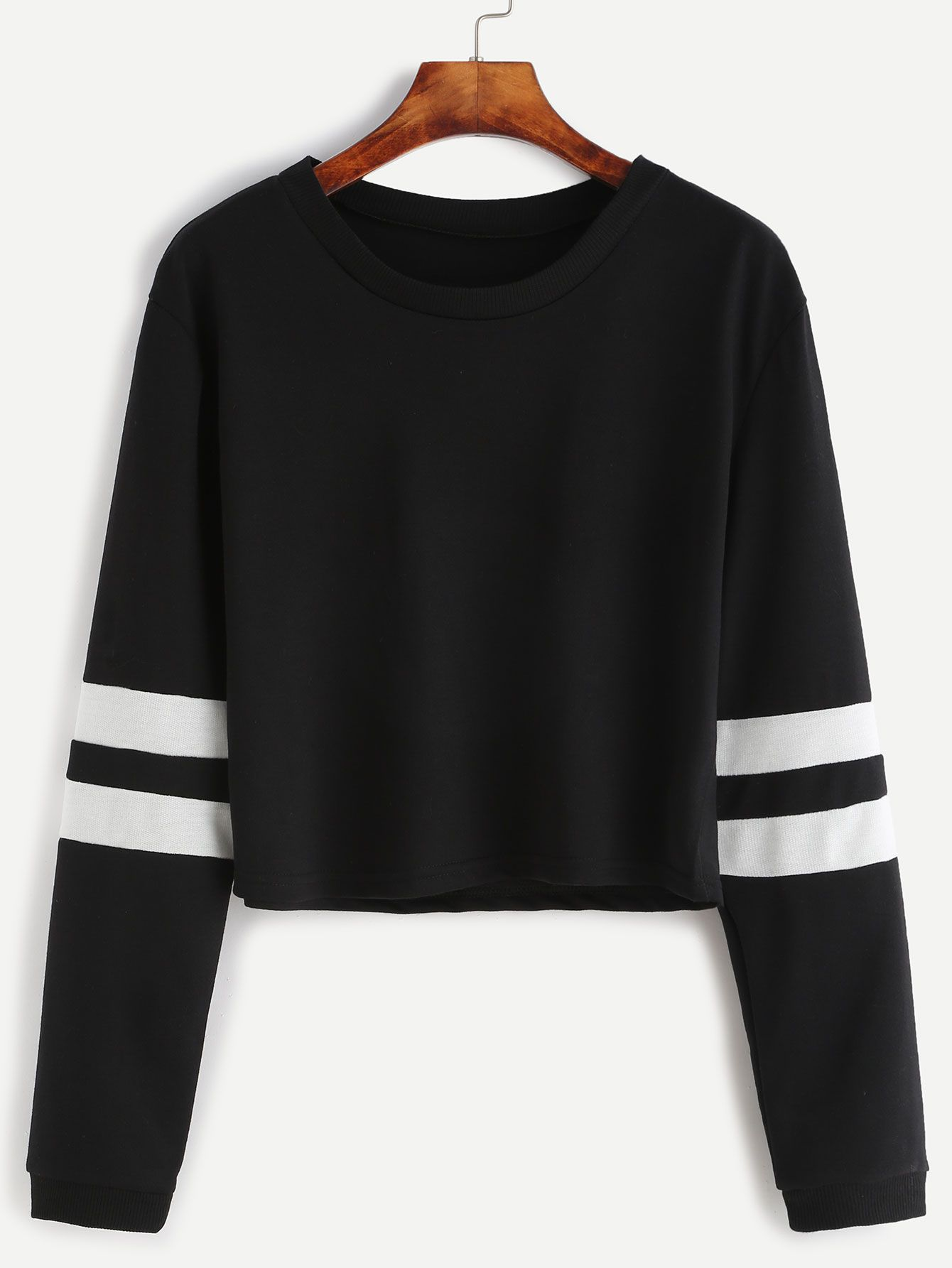 9b60866dcc Shop Black Varsity Striped Sleeve Crop T-shirt online. SheIn offers Black  Varsity Striped Sleeve Crop T-shirt & more to fit your fashionable needs.