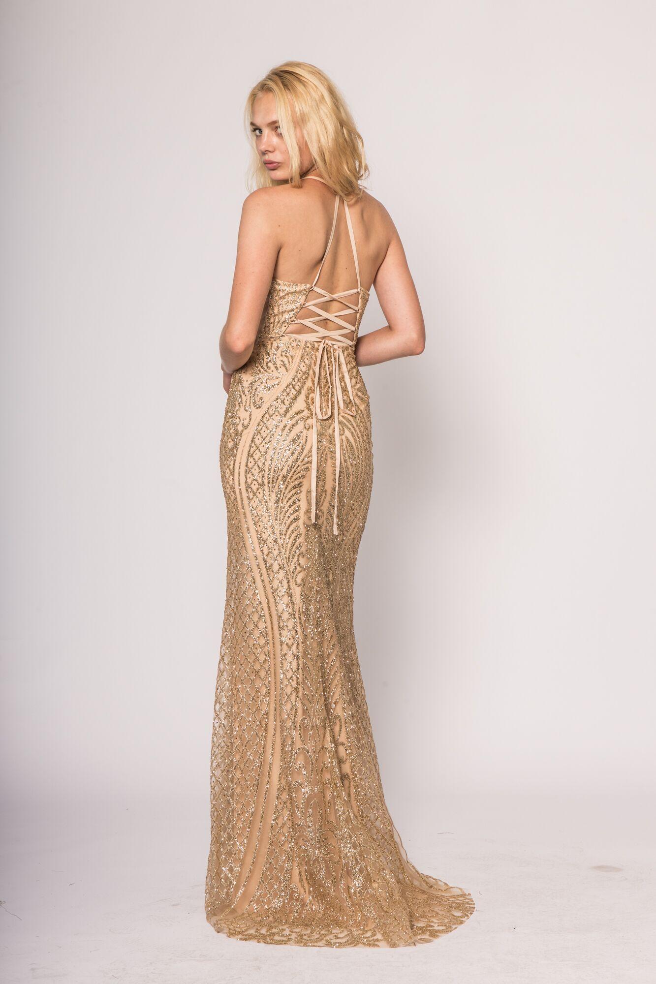 Elizabeth K By GLS Apparel Gold 2018 Prom dress | S/S Elizabeth K by ...