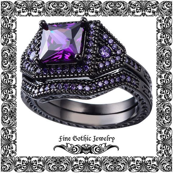 Gothic Wedding Rings Black Wedding Ring Princess 2Ct Vintage