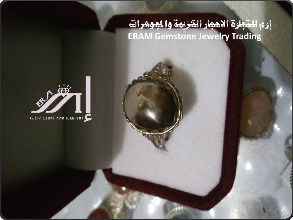 صورة غيمة خواتم نسائي عقيق طحلبي طبيعي 100 Agate Gemstone Jewelry Gemstones Class Ring