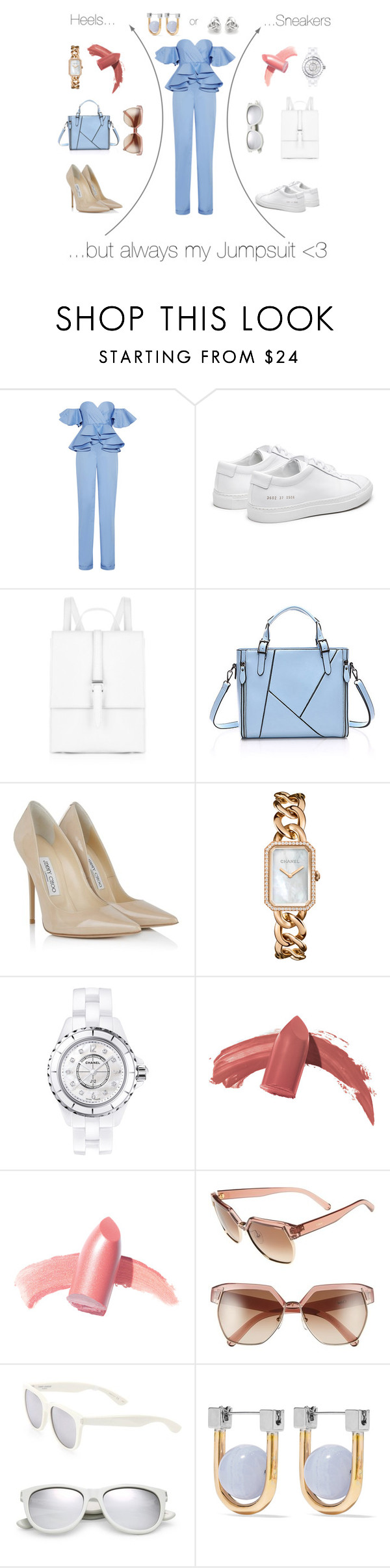 """Jumpsuit N°2"" by lovaconsultancy ❤ liked on Polyvore featuring Johanna Ortiz, Meli Melo, Jimmy Choo, Chanel, Elizabeth Arden, Chloé, Yves Saint Laurent, URiBE, Georgini and Blue"