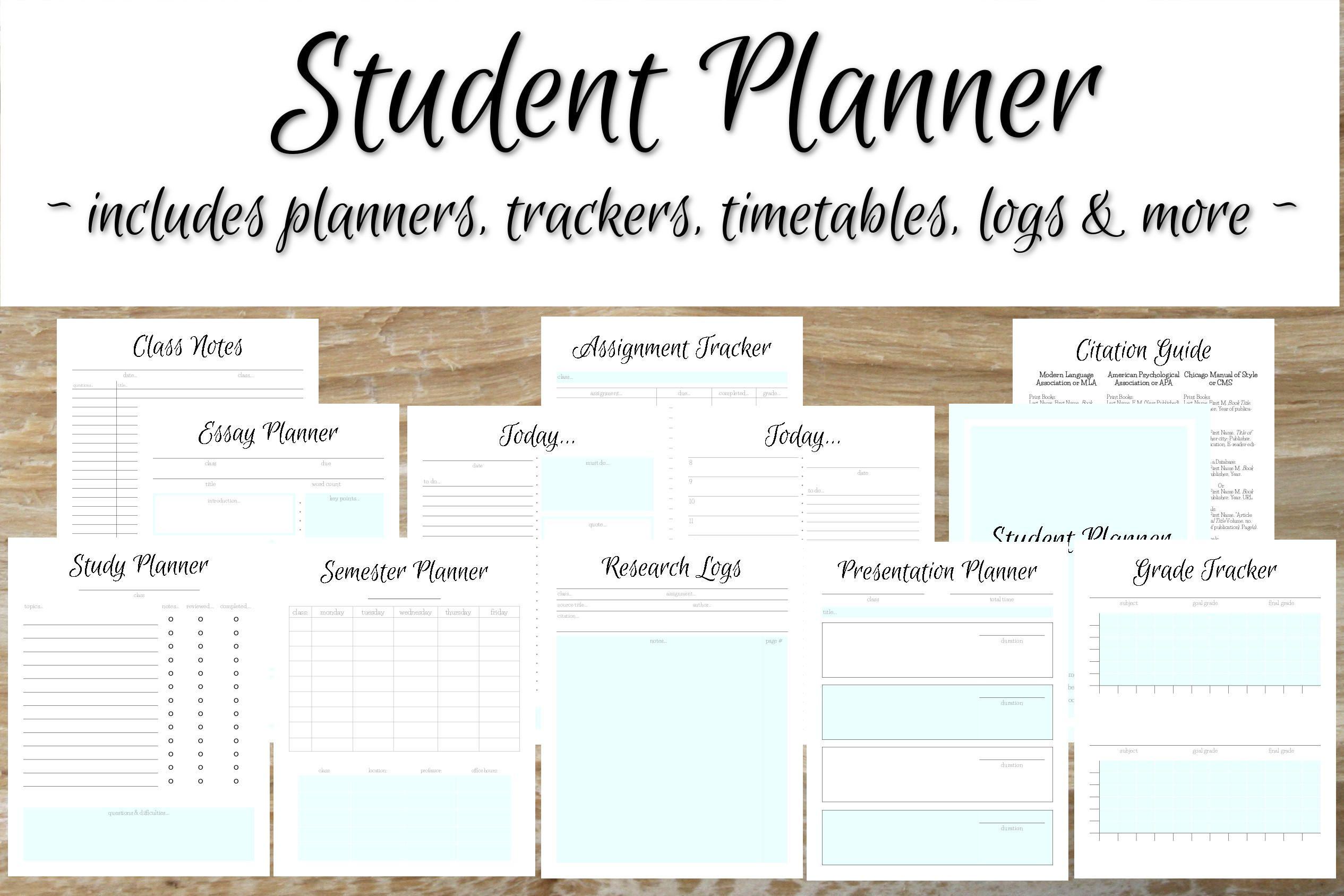 student planner mint blue student planner 2017 2018 academic
