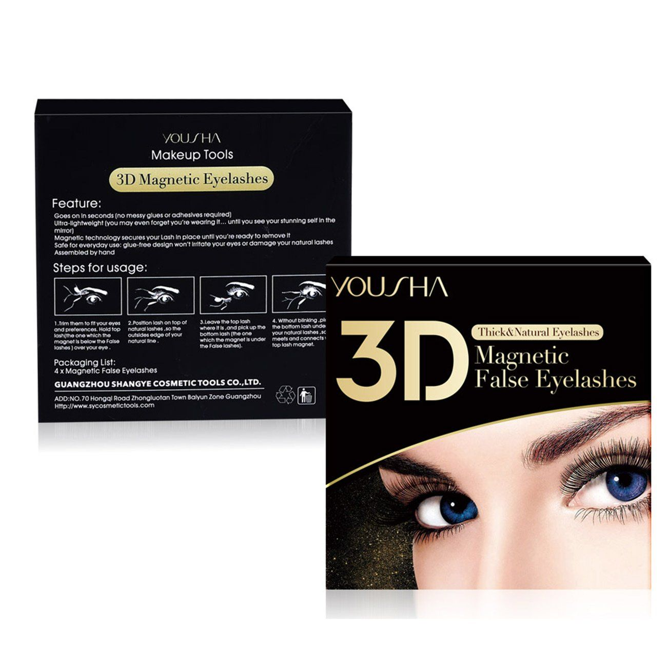 d7b40052e57 Yousha Three Ultra Thin Magnet Magnetic Fasle Eyelashes extensions 3D  Reusable Fake Long Eye Lashes Cover the entire eyelids for Halloween 1 pair  4 piece ...