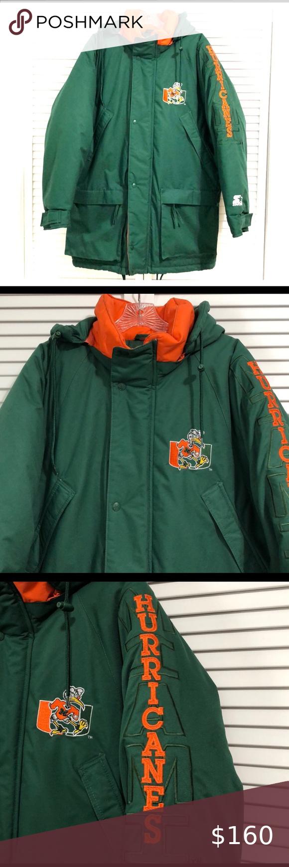 Vintage Starter Miami Hurricanes Trenchcoat Jacket In 2020 Trench Coat Jackets Miami Hurricanes