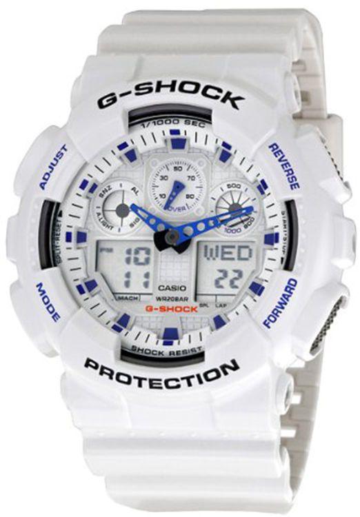 876de15dd2311 Casio Mens GA100A-7 G-Shock X-Large Analog-Digital White and Blue Sports  Watch