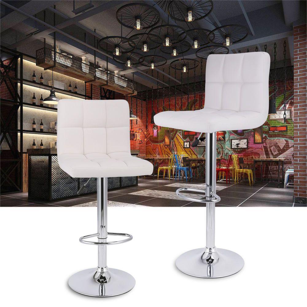 2xcuir Tabouret 360 Pivotant Hauteur Reglable Base En Metal Chaise Bar Bureau Chaise Bar Tabouret Porte Interieur Bois