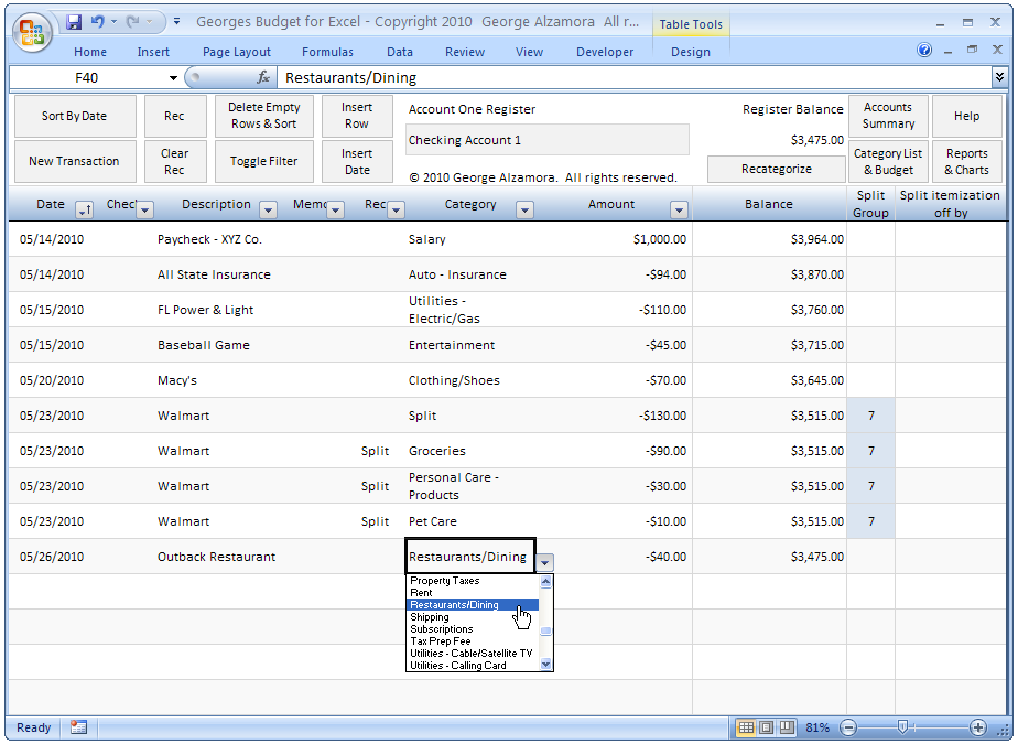 free excel checkbook register
