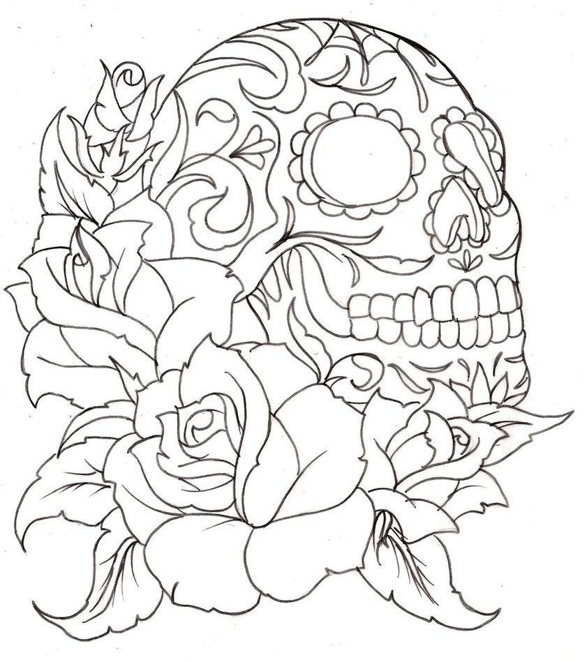 day of the dead coloring pages for adults | skull-coloring-pages ... - Coloring Pages Roses Skulls