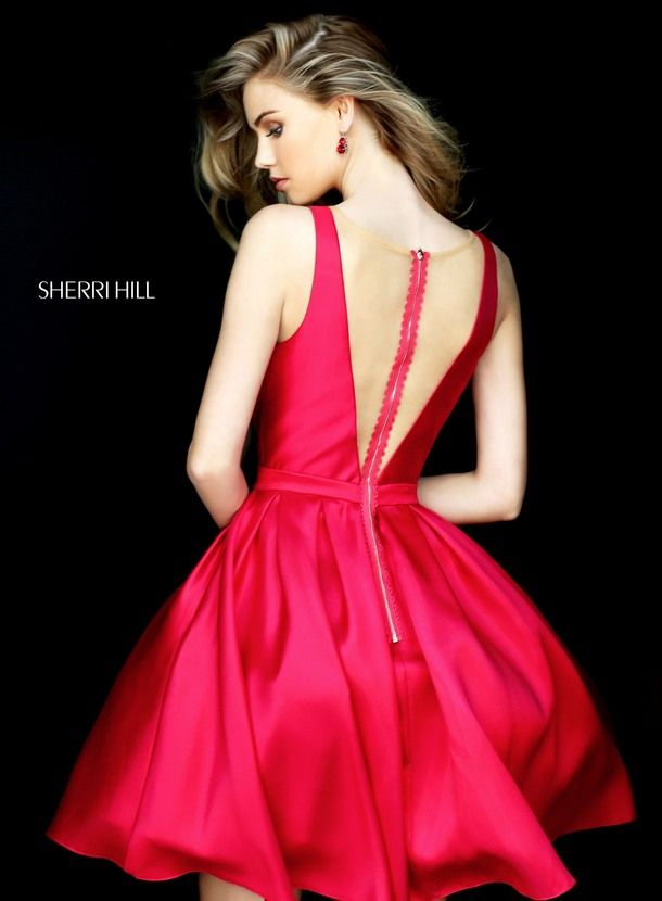 Red Sherri Hill V Neckline Homecoming Dress 50506 Cheap