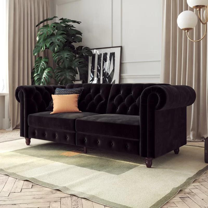 Dallas Velvet 89 5 Rolled Arm Sofa In 2020 Black Sofa Living Room Sofa Futon Sofa