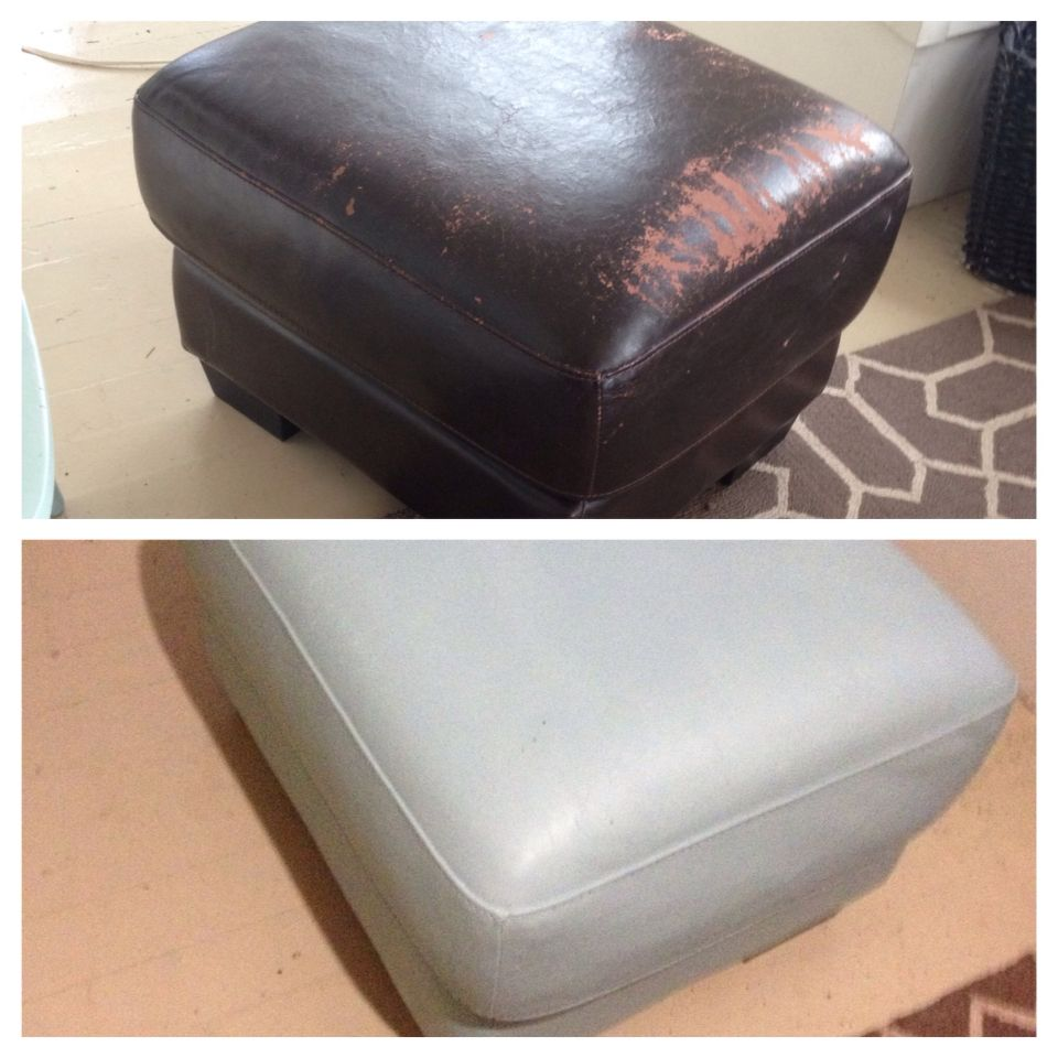 Pleasing Annie Sloan Chalk Paint On A Peeling Faux Leather Ottoman Squirreltailoven Fun Painted Chair Ideas Images Squirreltailovenorg