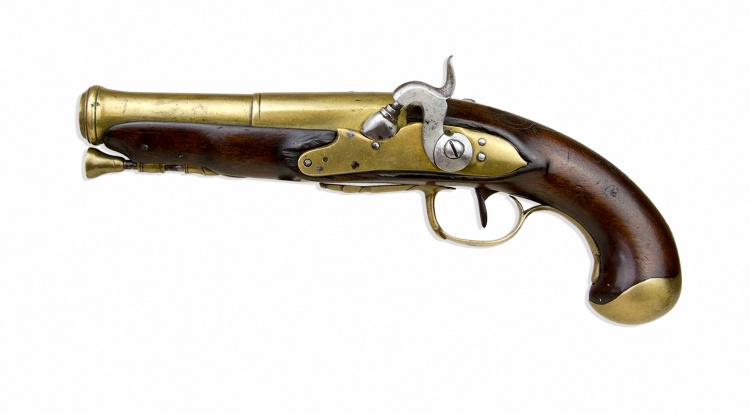 French Musket Bore Percussion Left Handed Lock Marine Pistol Circa 1780 Roa Antique Arms Percussion Marine Pistol