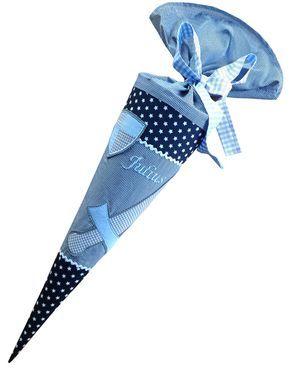 Schultüte Karo blau 70 cm
