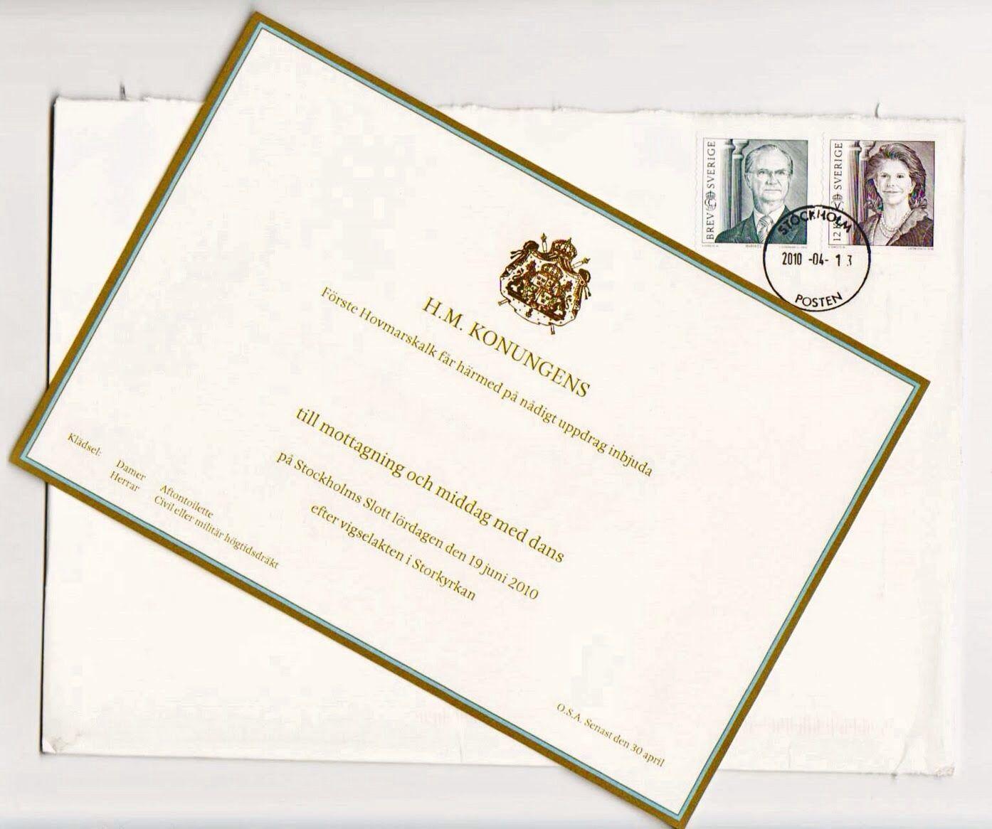 Wedding invitation of Crown Princess Victoria and Daniel
