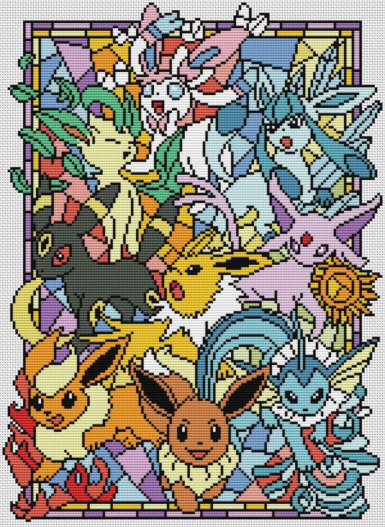 Photo of SG030 Pokemon go cross stitch pattern pdf Stained glass cross stitch pattern pdf BUY 2 GET 1 FREE  modern cross stitch pattern