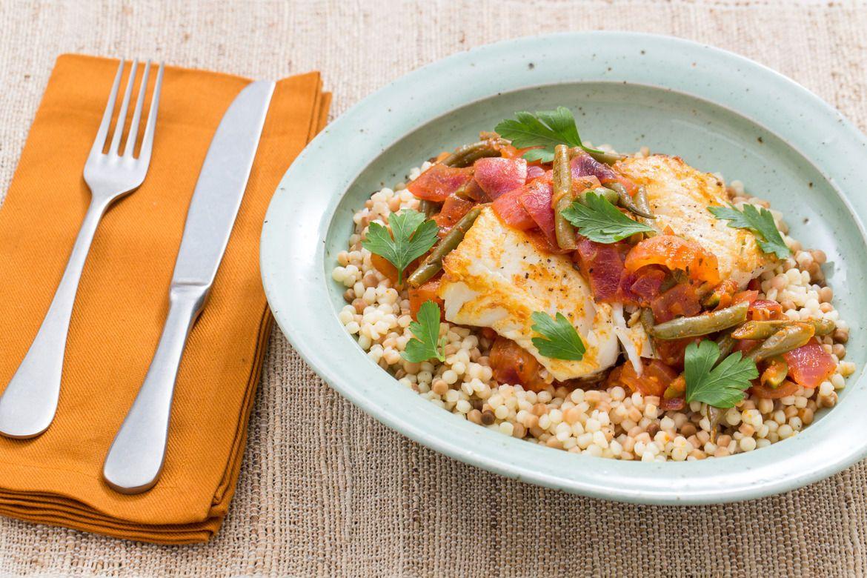 Seared Cod & Fregola Sarda with Braised Summer Vegetables