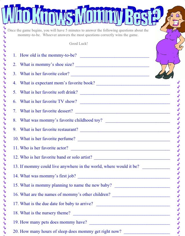 Baby Shower Questions About The Mother To Be : shower, questions, about, mother, Knows, Mommy, Shower, Funny,, Funny, Games,, Questions