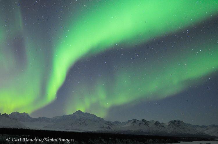 Northern Lights over Denali, Mount McKinley Around the World - new blueprint alberta northern lights