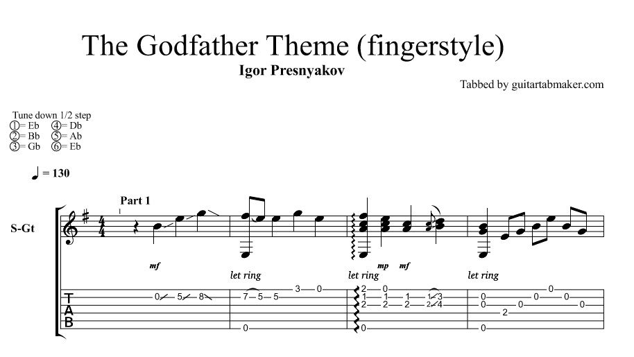 Igor Presnyakov - The Godfather theme TAB - fingerstyle guitar cover ...