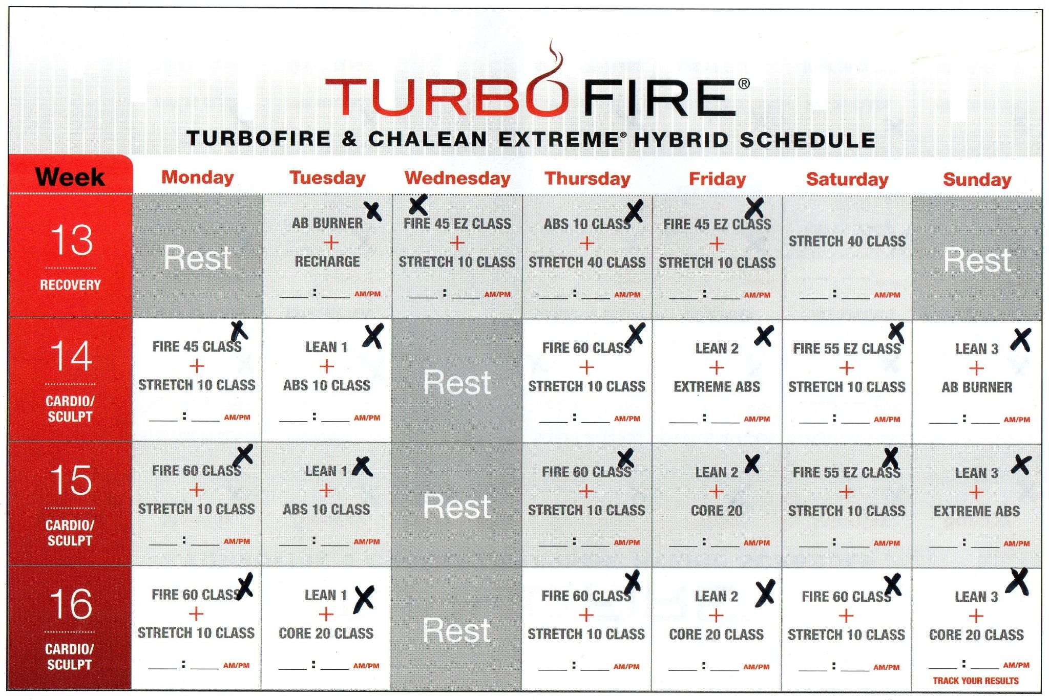 turbo fire week 13 calendar | turbo fire and chalean extreme hybrid