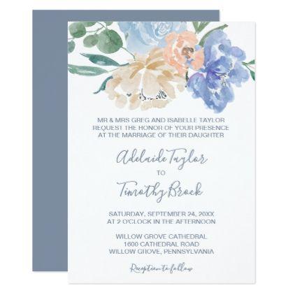 Dusty blue florals formal wedding card formal wedding dusty blue dusty blue florals formal wedding card formal wedding dusty blue and wedding card stopboris Gallery