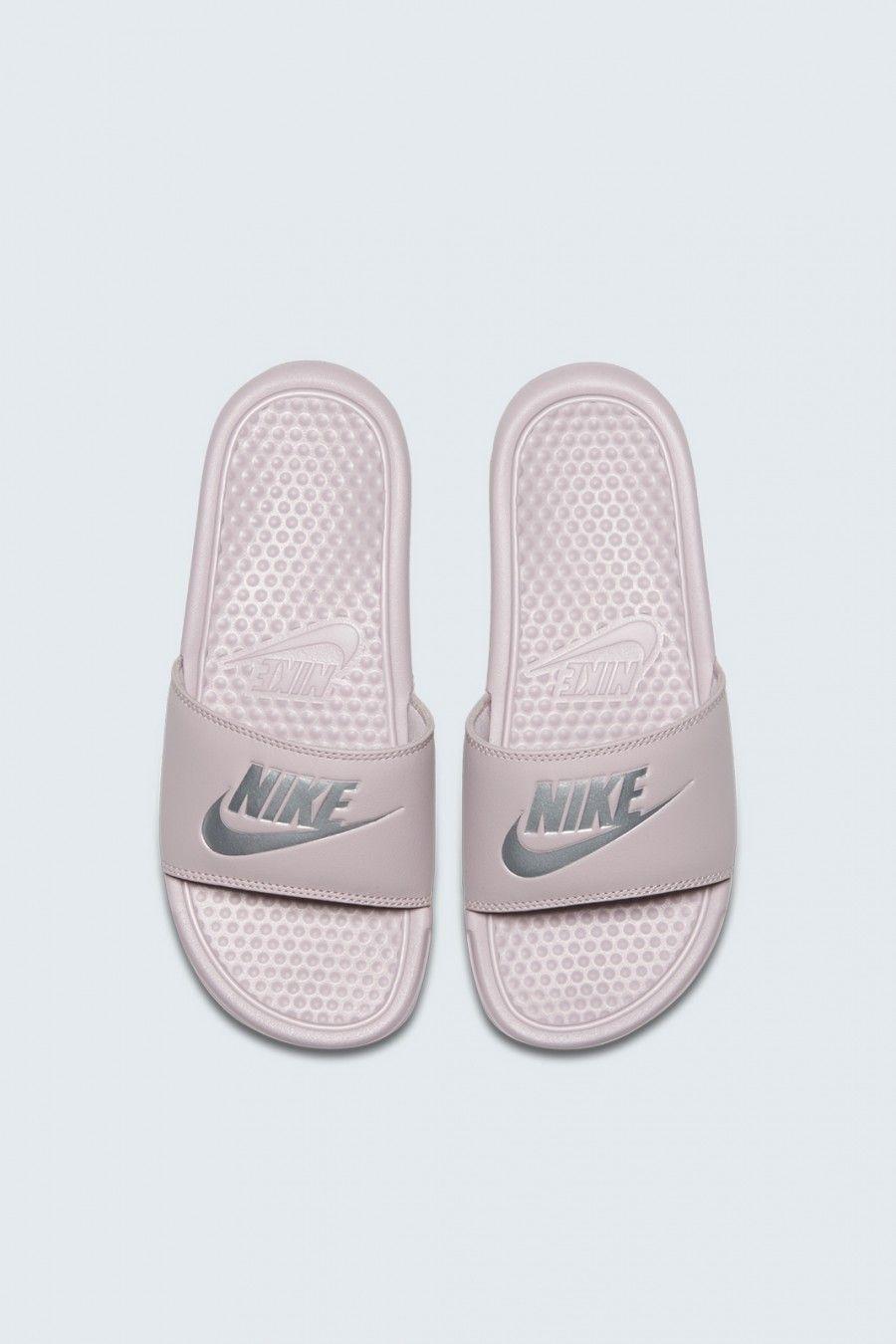 all white nike slippers
