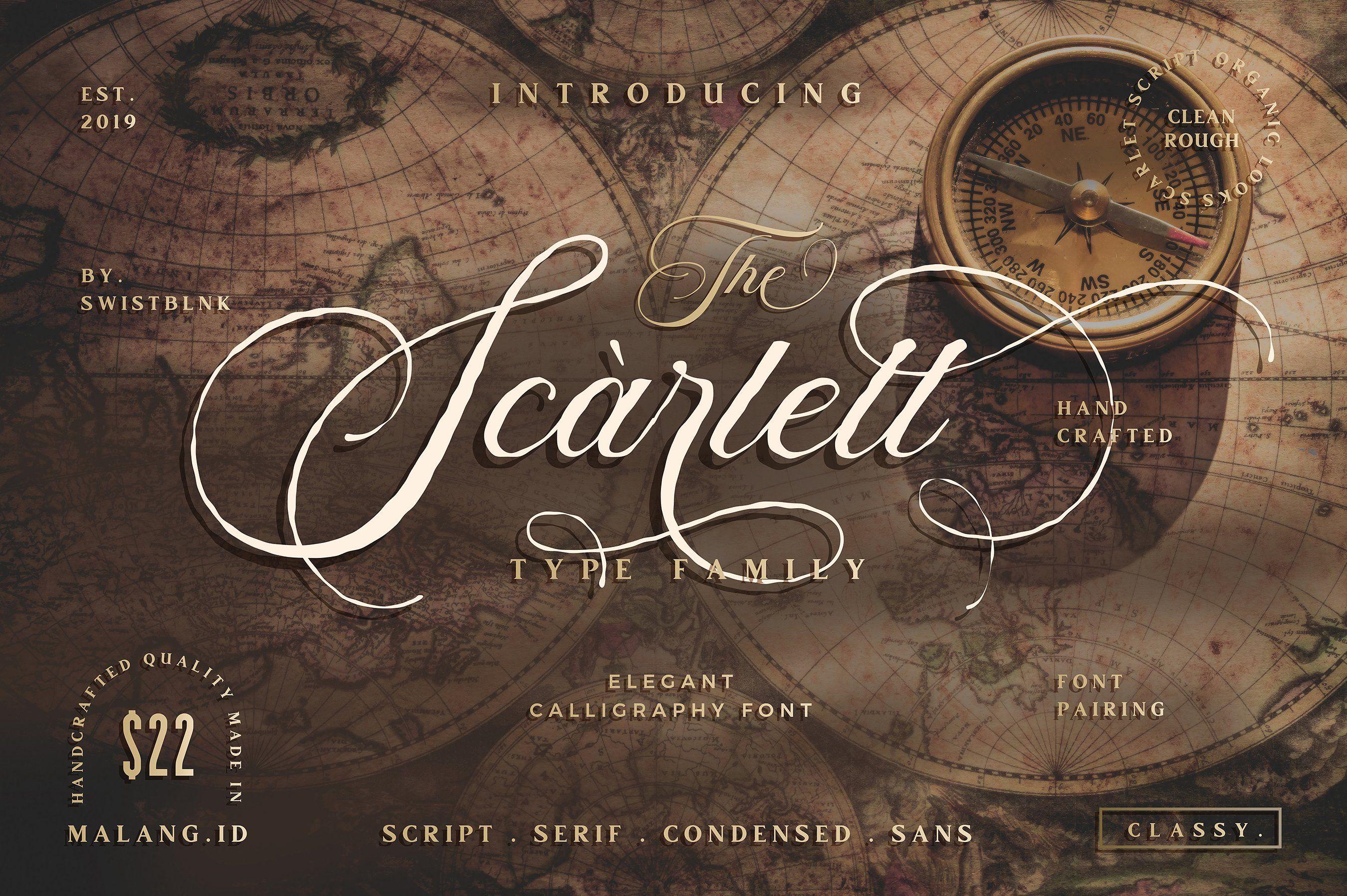 Scarlett Font Bundle + 12 Logos Font bundles, Font names