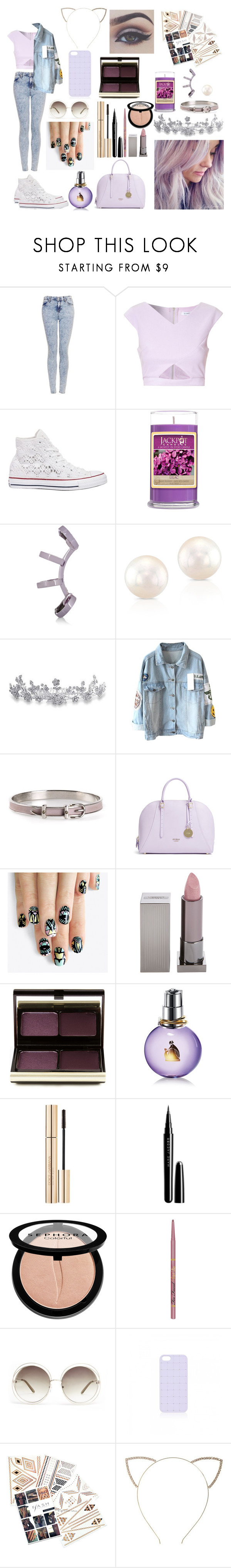 """Spring Dream"" by stellaglaze ❤ liked on Polyvore featuring Topshop, Glamorous, Converse, Repossi, Bling Jewelry, Hermès, GUESS, alfa.K, Lipstick Queen and Kevyn Aucoin"