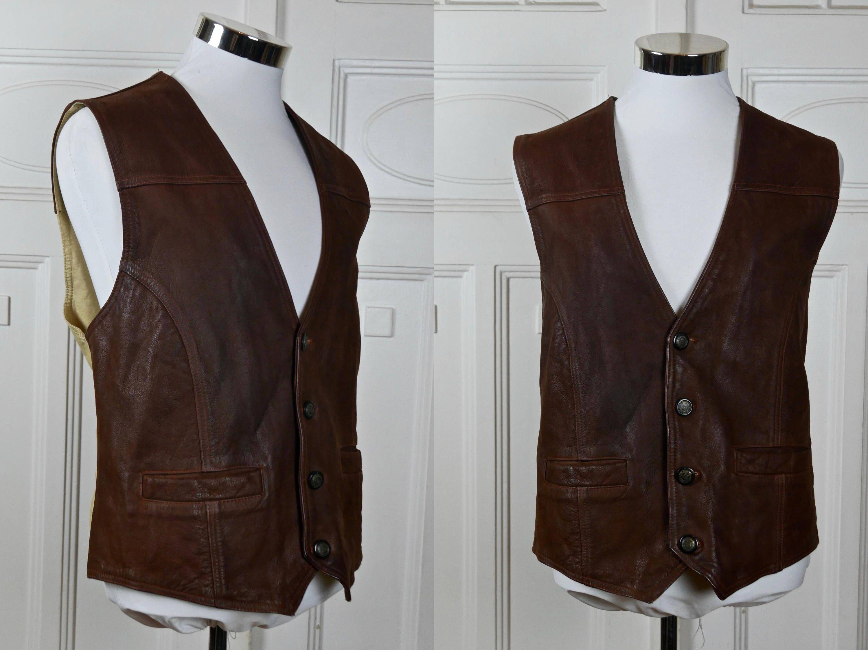 Brown Leather Vest Men S German Vintage Buffalo Leather Etsy Leather Vest Mens Leather Vest Leather Waistcoat